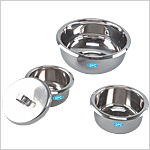 Gallipots, cup shaped with cover, Stainless Steel