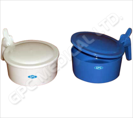 Spittoon Mug-Round with Lid White/Blue