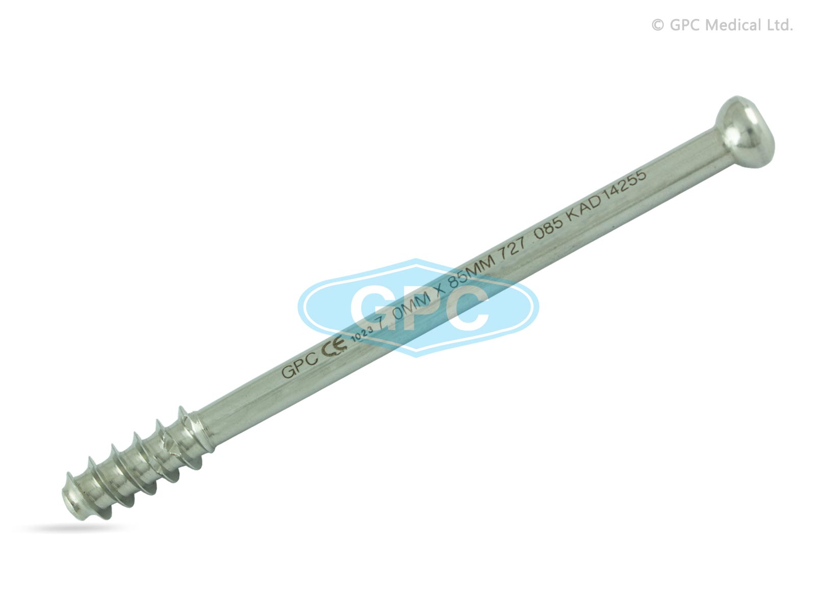 Large Cannulated Cancellous Screw 7.0mm, Hexagonal Socket, 16mm threaded.